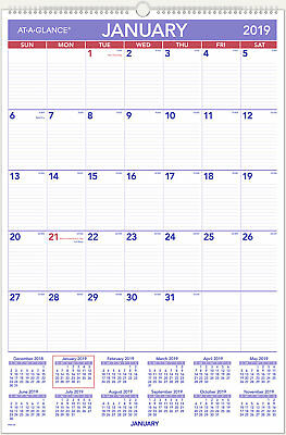At-A-Glance Monthly Wall Calendar with Ruled Daily Blocks 20 x 30 White 2019
