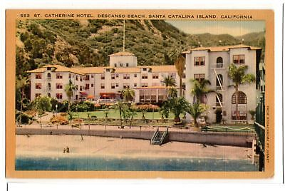 St Catherine Hotel Descanso Beach Catalina Island Ca Vintage Linen Postcard 1946