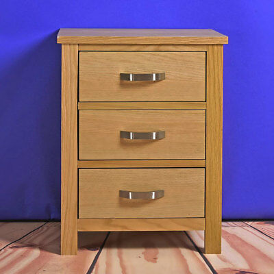 Chest of 3 Drawer Oak Nightstand Bedside Table Cabinet Storage Units Bedroom