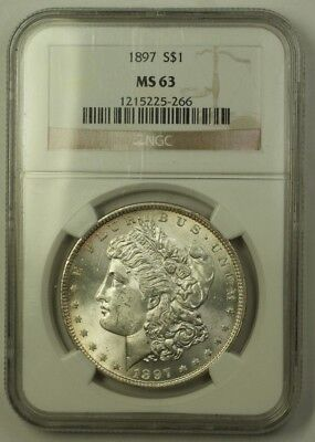 1897 Morgan Silver Dollar $1 Coin NGC MS-63 Choice BU Specimen