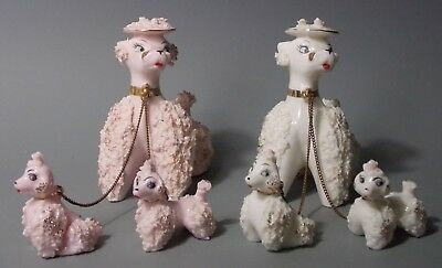 Vintage MCM Pair Spaghetti Poodle Dogs & Puppies on Chain Pink & White