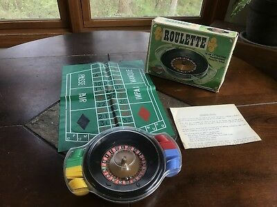 Vintage Roulette Wheel Game w/Chips Board Instructions & Box NEW OLD STOCK!