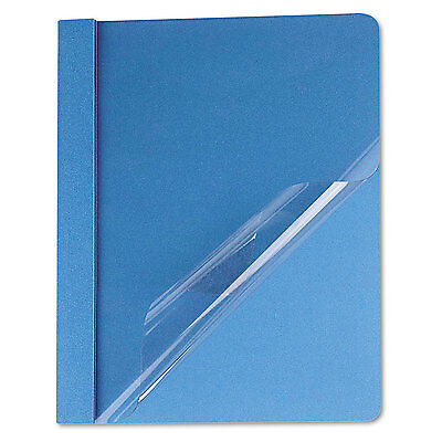 UNIVERSAL Clear Front Report Cover Tang Fasteners Letter Size Light Blue 25/Box