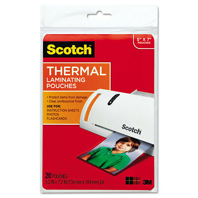 Scotch Photo Size Thermal Laminating Pouches 5 mil 7 x 5 20/Pack TP590320