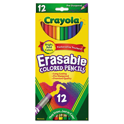 Crayola Erasable Colored Woodcase Pencils 3.3 mm 12 Assorted Colors/Set 684412