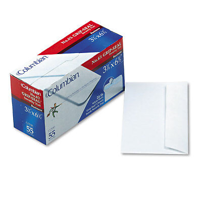 Columbian Grip-Seal Security Tint Business Envelopes Side Seam #6-3/4 White Wove