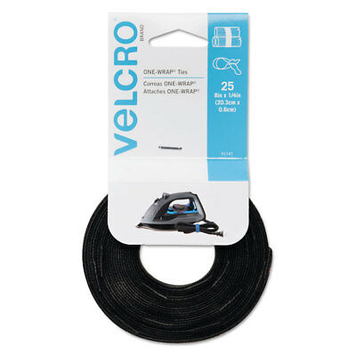 25 Pack Tie Velcro Reusable Self-gripping Cable Ties Black 91141/_40