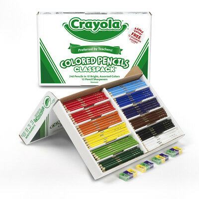Crayola Colored Pencils 240 Ct Classpack 12 Assorted Colors Full Length 8024