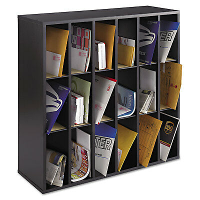 Safco Wood Mail Sorter with Adjustable Dividers Stackable 18 Compartments Black