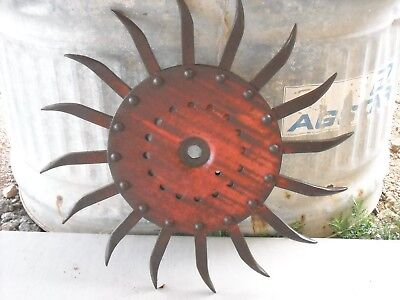 Vintage Industrial Iron Rotary Hoe Cultivator Wheel Garden Farm Yard Art Decor