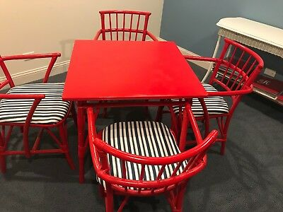 Vintage Rattan Style Red Lacquer Table and 4 Chairs