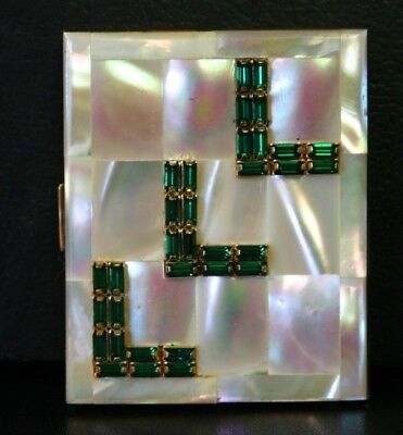 Vintage Elgin American USA Compact Mother Of Pearl & Green Rhinestones & Case