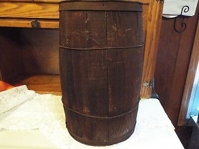 Vintage Wooden Nail Keg Barrel Metal Wrapped Farm Primitive