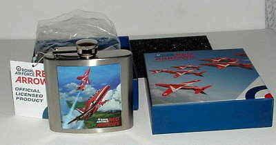 NEW & BOXED ROYAL AIR FORCE RED ARROWS 5oz STAINLESS STEEL HIP FLASK