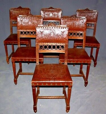 19th Century French Louis XVI Carved Walnut & Tooled Leather Chairs, Set of Six