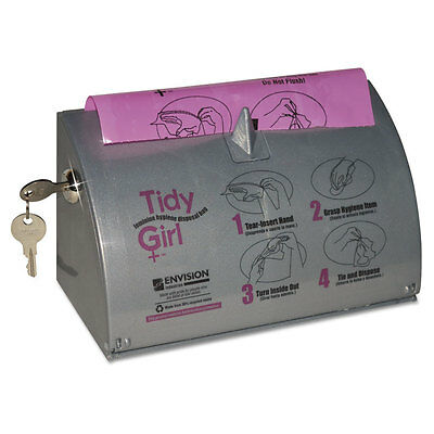 Tidy Girl Plastic Feminine Hygiene Disposal Bag Dispenser Gray TGUDP