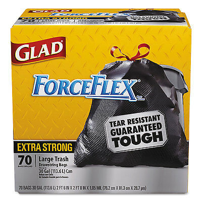 Glad Dual Defense Drawstring Large Trash Bags 30 gal Black 70/BX 70358