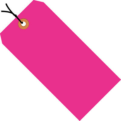 "Box Partners Shipping Tags Pre-Strung 13 Pt. 6 1/4"" x 3 1/8"" Fluorescent Pink"