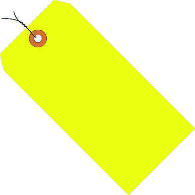 """Box Partners Shipping Tags Pre-Wired 13 Pt. 4 3/4"""" x 2 3/8"""" Fluorescent Yellow"""