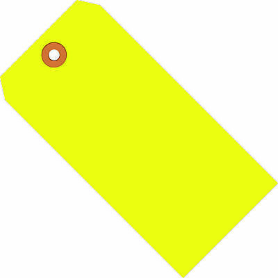 """Box Partners Shipping Tags 13 Pt. 3 3/4"""" x 1 7/8"""" Fluorescent Yellow 1000/Case"""