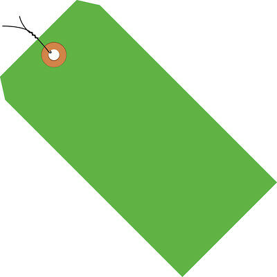 """Box Partners Shipping Tags Pre-Wired 13 Pt. 5 3/4"""" x 2 7/8"""" Fluorescent Green"""