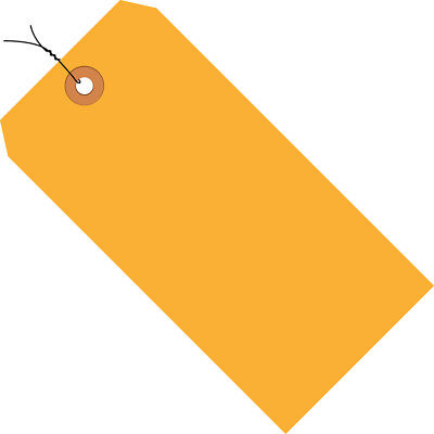 """Box Partners Shipping Tags Pre-Wired 13 Pt. 4 3/4"""" x 2 3/8"""" Fluorescent Orange"""