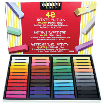 Sargent Art 48Ct Assorted Color Artists Chalk Pastels Lift Lid Box 224148