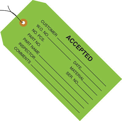 """Box Partners Inspection Tags Pre-Wired """"Accepted"""" 4 3/4"""" x 2 3/8"""" Green 1000"""