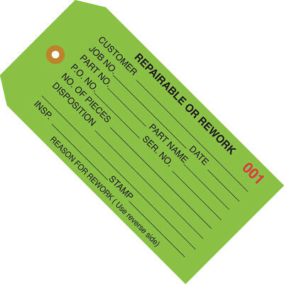 "Box Partners Inspection Tags ""Repairable or Rework"" 4 3/4"" x 2 3/8"" Green 1000"