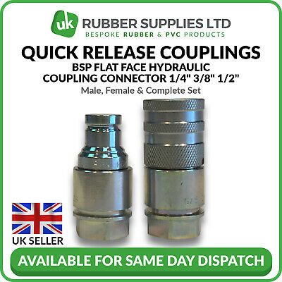"Quick Release Fitting BSP Flat Face Hydraulic Coupling Connector 1/4"" 3/8"" 1/2"""