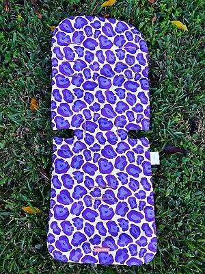Maclaren Reversible Seat Liner Stroller Purple Leopard Animal Print/ Orange