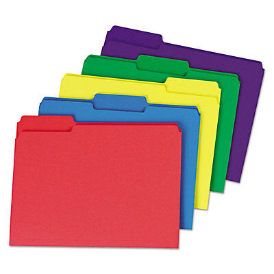 UNIVERSAL Heavyweight File Folders 1/3 Cut One-Ply Top Tab Letter Assorted 50