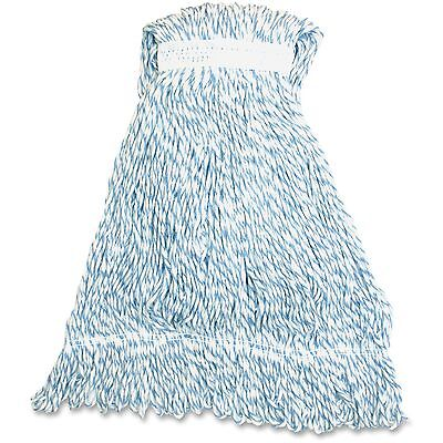 Genuine Joe Large Striped Rayon Finish Mop 21oz. 12/CT Blue/White LBW1BCT