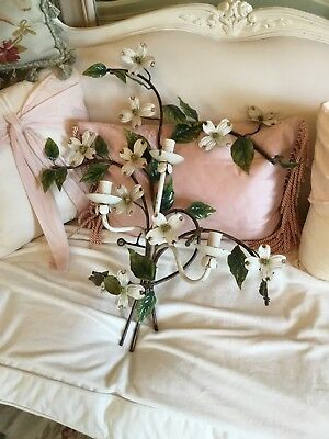 SHABBY Antique Vtg Magnolia FLOWER Tole Sconce Italian  Old Wall Sconce