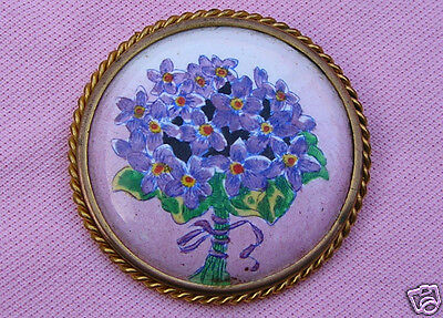 Big Vintage European Antique Victorian Enamel Brass Gold Violet Portrait Brooch