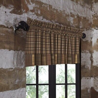 TAN RUSTIC & Lodge Kitchen Curtains Clamont Valance Rod ...