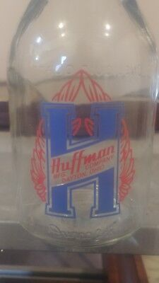 Vintage style  Huffman  1 Quart Motor Oil Glass Bottle with spout and cap