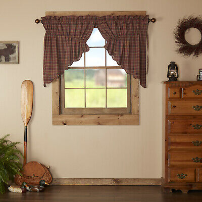 Red Rustic & Lodge Kitchen Curtains Collin Prairie Swag Pair Rod Pocket