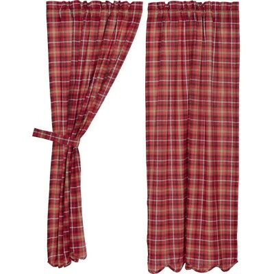 Red Rustic & Lodge Curtains Harvey Cabin Panel Pair Rod Pocket Cotton Plaid