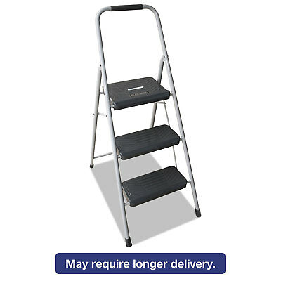 LOUISVILLE Black and Decker Steel Step Stool Three-Step 200 lb Cap Gray