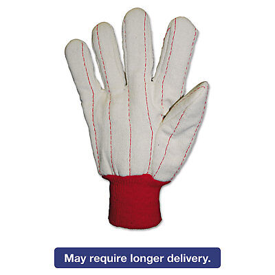 Anchor Brand Heavy Canvas Gloves White/Red Large 12 Pairs 1050