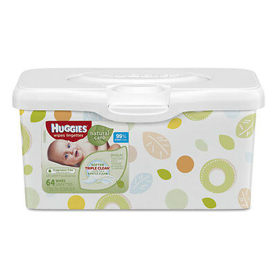 Huggies Natural Care Baby Wipes Unscented White 64/Tub 4 Tub/Carton 39301