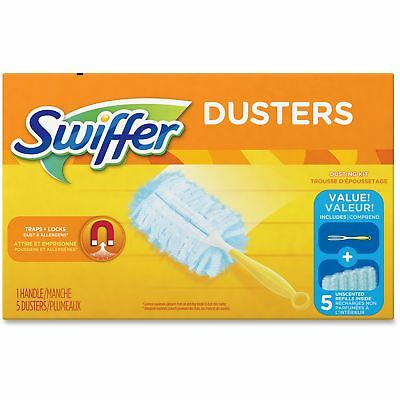 "Swiffer Dusters Starter Kit Dust Lock Fiber 6"" Handle Blue/Yellow 6/Carton"