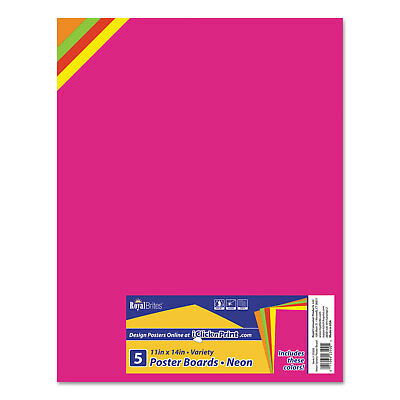 Royal Brites Premium Coated Poster Board 11 x 14 Assorted 5/Pack 23500