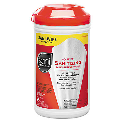 Sani Professional Table Turners No-Rinse Sanitizing Wipes White 95/Container