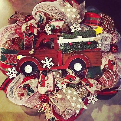 Red truck wreath for front door, Rustic holiday decor, Christmas fireplace decor