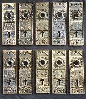 Antique BEAUTIFUL Lot Of 10 F.C. LINDE Co.  CAST BRASS BACKPLATES