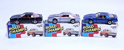 Nice Vintage Lot Of 3 Road Champs 1982 Camaro & Trans Am W/ Box