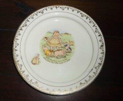 Vintage Baby's Child's Pottery Feeding Dish Plate BABY BUNTING Pigs at Play