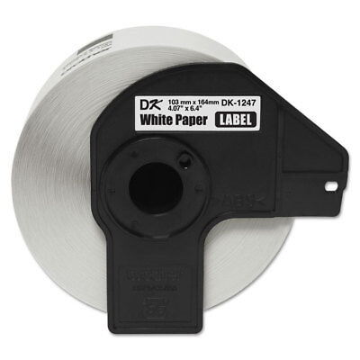 "Brother P-Touch DK1247 Label Tape, 4.07"" x 6.4"", Black on White, 180/Roll"
